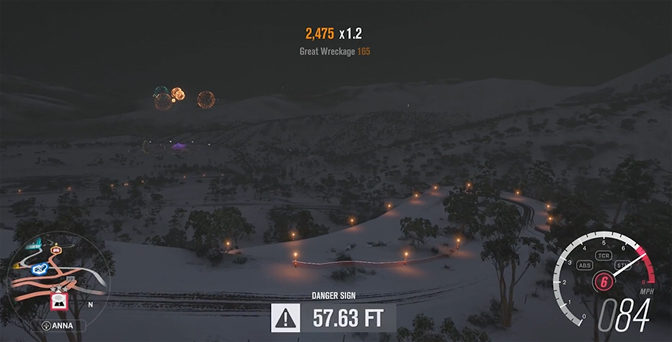 Holiday Night Driving on Forza's Blizzard Mountain