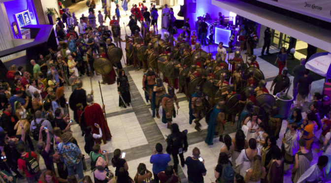 Featured in our into picture, ALL of the the Spartans and Greeks attending DragonCon 2017 got together for a military parade.