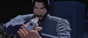 A promotional image of John Wick Hex, featuring a cel-shaded John holding a gun to the camera.